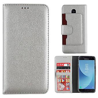 Wallet Case PU for Samsung J7 2017 in Silver