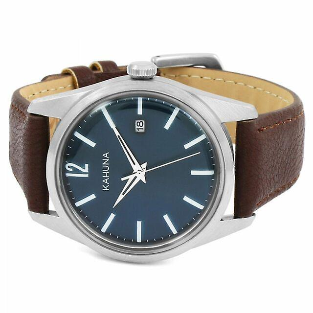 Kahuna Mens Gents Wrist Watch Brown Strap Blue Face KUS-0131G