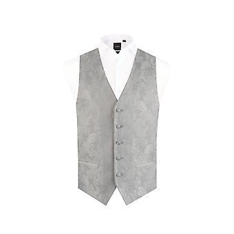 Dobell Boys Silver Paisley Waistcoat Mariage Fit régulière