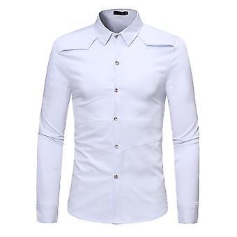 Allthemen الرجال & apos;ق الصلبة سليم صالح Lapel الأعمال السببية طويلة الأكمام قميص