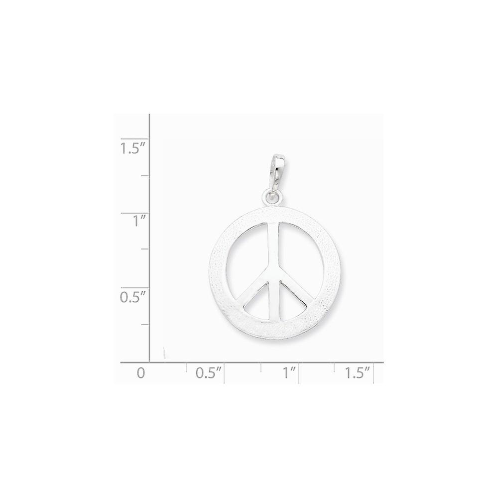 925 Sterling Silver Solid Textured back Polished and Textured Peace Pendant Necklace Jewelry Gifts for Women