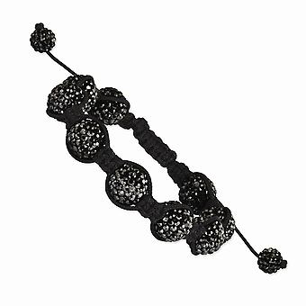 Slip on Adjustable 12mm Black Crystal Beads Black Cord Bracelet Jewelry Gifts for Women