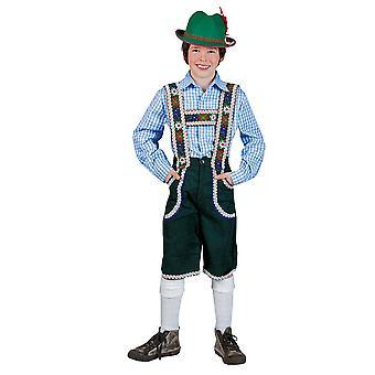 Karneval Klamotten Kostüm Tirolerhemd blau weiss kariert Kind Oktoberfest Tirol Jungenkostüm