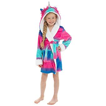 Girls Hooded Unicorn Design Soft Fleece Dressing Gown Nightwear Bathrobe