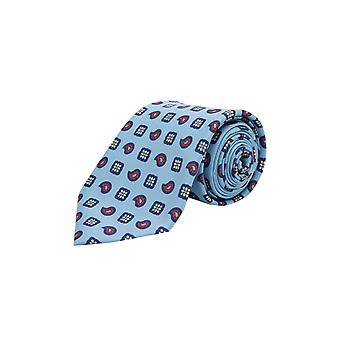Loch Hart Mens Light Blue Paisley Print Tie