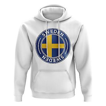 Sveriges fotball Badge hettegenser (hvit)
