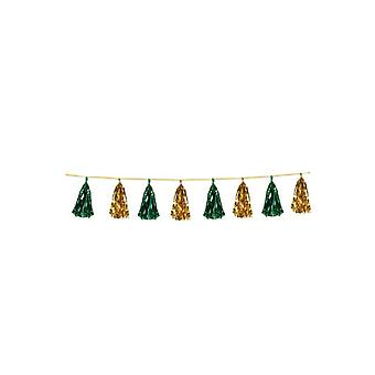 Guirnalda de oro verde y borlas metálicas