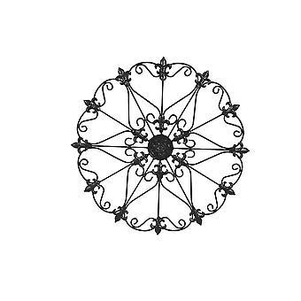 Metal Wall Medallion Decor With Fleur De Lis Design, Black