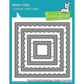 Lawn Fawn Reverse Stitched Scalloped Square Windows Dies
