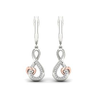 Boucles d'oreilles Igi certifié argent sterling argent 0.1ct tw diamant infinity coeur pendent boucles d'oreilles