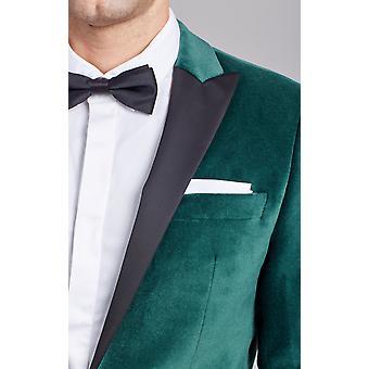 Dobell Mens Racing Green Velvet Tuxedo Jacket Regular Fit Contrast Peak Lapel