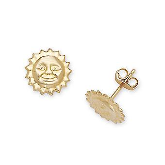 14k Yellow Gold Sun Stamping for boys or girls Earrings Measures 8x8mm
