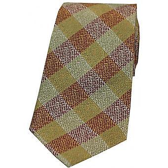 David van Hagen check mønstrede silke slips-brændt orange/grøn