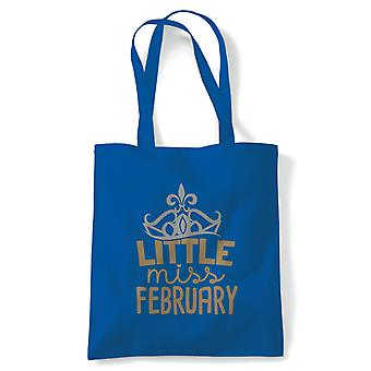 Little Miss February Tote | Happy Birthday Celebration Party Getting Older | Reusable Shopping Cotton Canvas Long Handled Natural Shopper Eco-Friendly Fashion