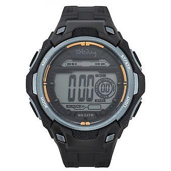 Tekday Watch 655952 - Digital Multifunction Bracelet Bo tier Silicone Grey Black Men