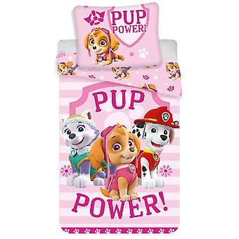 Paw Patrol Pup Power Single Cotton Duvet Cover Set - European Size