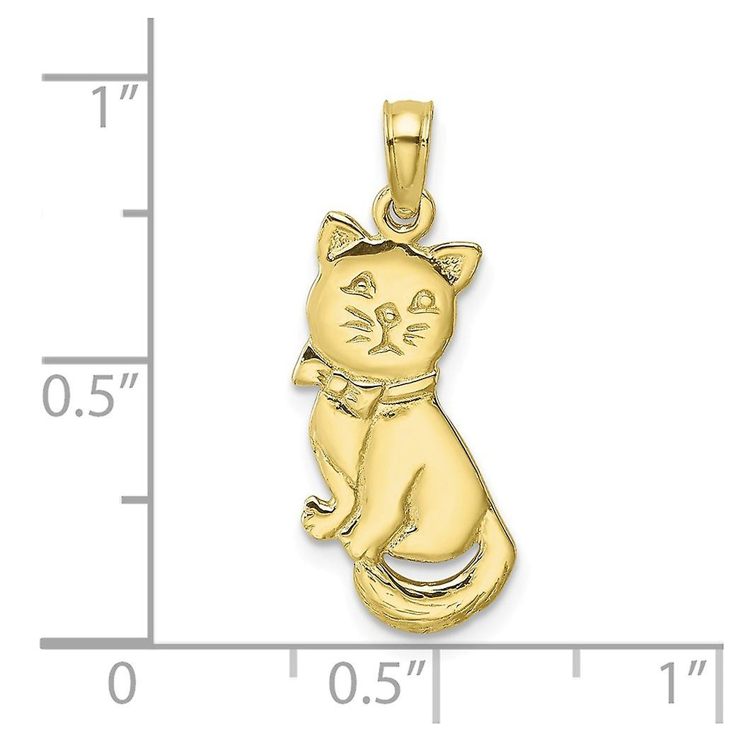 10k Gold 3 d Cat Sitting With Bow and High Polish Charm Pendant Necklace Jewelry Gifts for Women