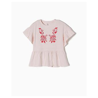 Zippy Ruffles And Embroidery T-shirt