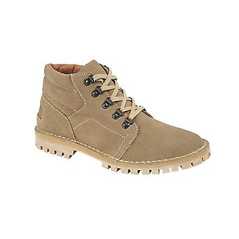 Roamers Light Taupe Real Suede D Ring Leisure Boot Padded Ankle The Greatest ! Pvc Tread Sole