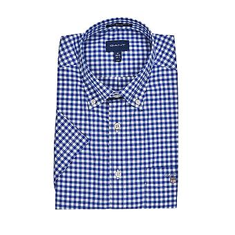 Gant Broadcloth Gingham Short Sleeve Shirt College Blue