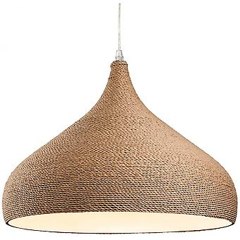 Firstlight Haven Traditional Brown Rope Fabric Wooden Dome Plafond Léger Pendentif