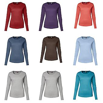 ID Womens/Ladies Fitted Long Sleeve Interlock T-Shirt