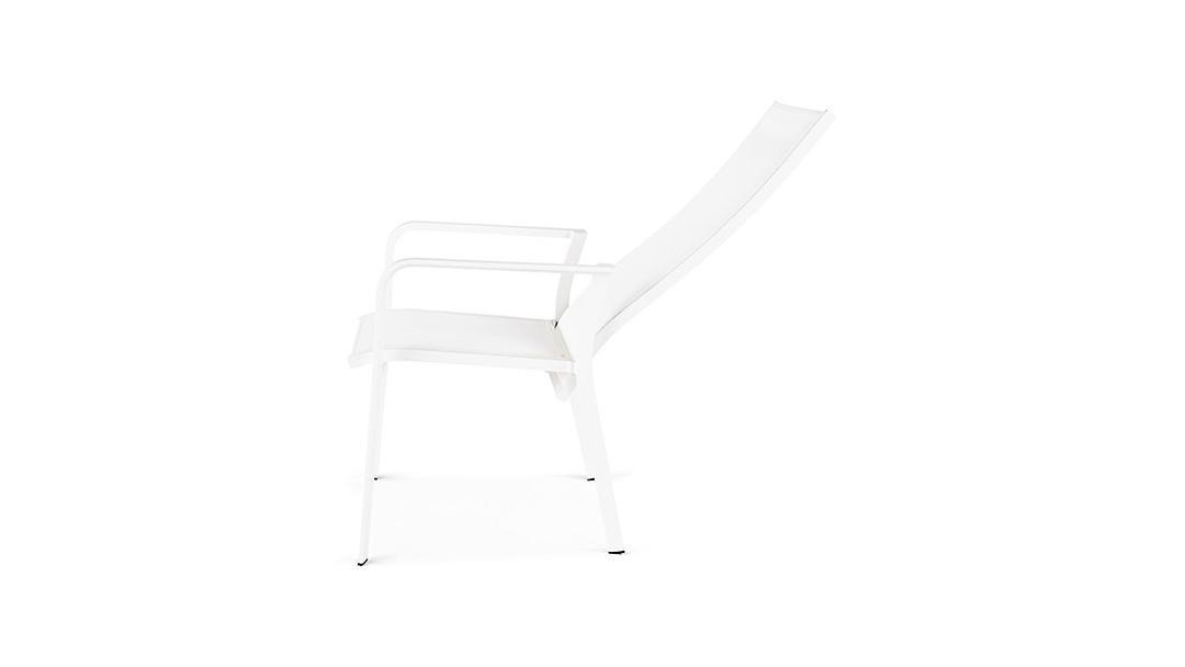 Plage7 - France Chaise de jardin Avalon avec dossier réglable élevé .  Blanc et blanc chaises de jardin