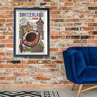 Fly TWA Switzerland 2 Poster Print Giclee
