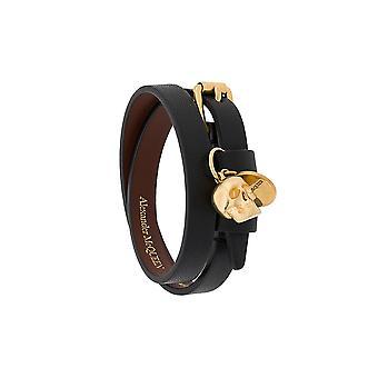 Alexander Mcqueen 551155asd0o1000 Women's Black Leather Bracelet