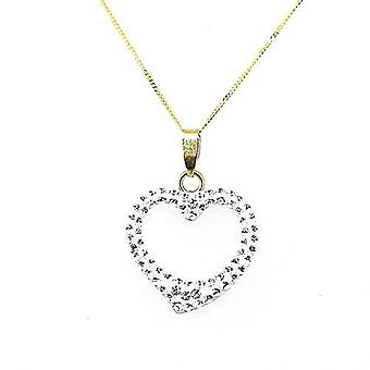 TOC 9ct Gold Heart Pendant Made with Swarovski Crystals