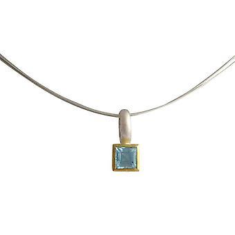 Gemshine - Damen - Halskette - 925 Silber - Vergoldet - Topas - Blau - 11mm