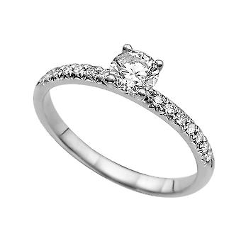 0.84 carat H VS2 Diamond Engagement Ring 14K witgoud Solitaire w accenten 4 uitsteeksels Classic