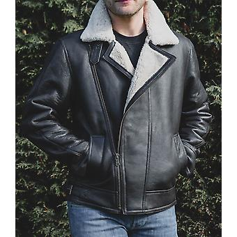 Nordvek Mens Sheepskin Jacket - Aviator Nappa Leather Flying Bomber Coat # 703-100