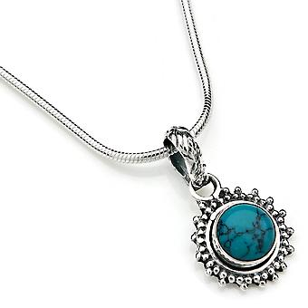 Chain pendant 925 Silver turquoise incl. silver chain (x 1.5 mm/no. 64)
