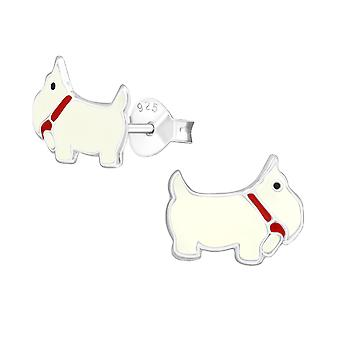 Dog - 925 Sterling Silver Colourful Ear Studs - W967x