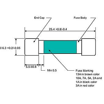 مكونات TRU 110102700109X الصمامات المتعددة (Ø x L) 6.35 مم × 25.4 ملم 1 A 250 V استجابة سريعة -F- محتوى 1 pc(s)
