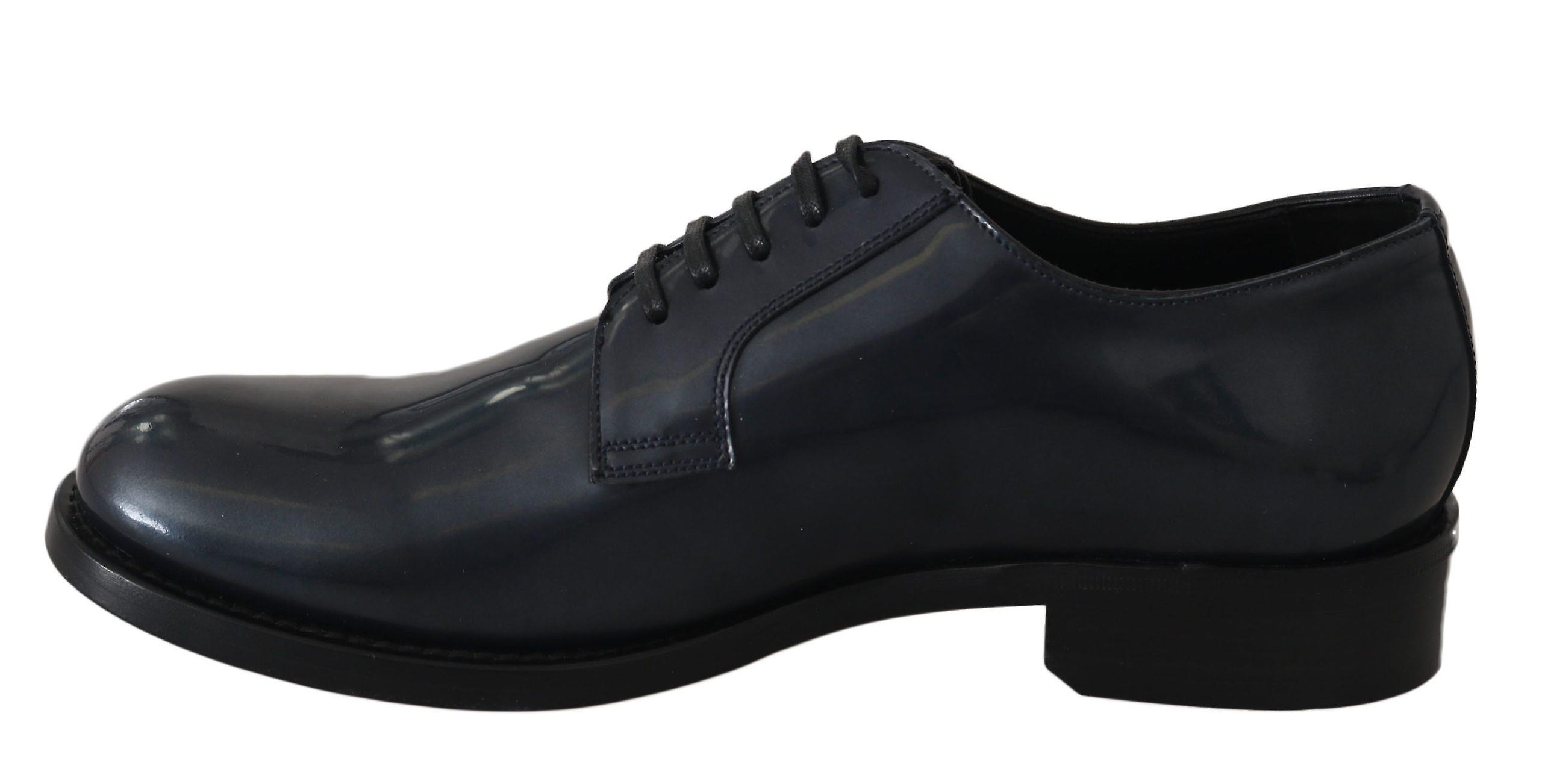Dolce & Gabbana Blue Leather Derby Dress Formal Shoes MV2436-39