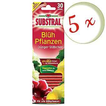 Sparset: 5 x SUBSTRAL® fertilizer rods for flowering plants, 30 pieces