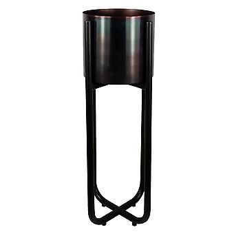 Tall Black Stand with Iridescent Rainbow Metal Planter 62cm x 18cm