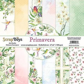 ScrapBoys Primavera paperpad 24 vl+cut out elements-DZ PRIM-02 190gr 15,2cmx15,2cm