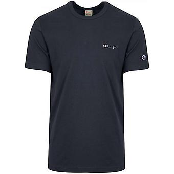 Champion Reverse Weave Navy Blue Logo T-Shirt