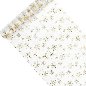36cm x 9m Vit Tyll Net Roll med Guld Glitter Snowflake Mönster
