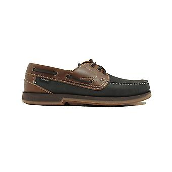 Loake 521N2 Brown Waxy & Navy Nubuck Leather Mens Deck Shoes