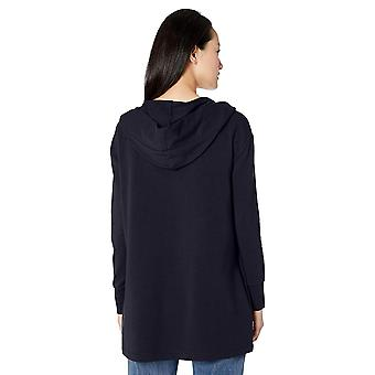 Daily Ritual Women's Terry Cotton and Modal Hooded Open Sweatshirt, Navy, XX-...