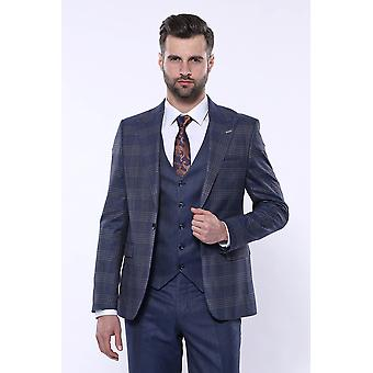 Navy suit with checked blazer | wessi