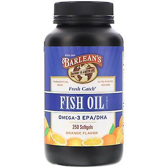 Barlean's, Fresh Catch, Fish Oil Supplement, Omega-3 EPA/DHA, Orange Flavor, 250