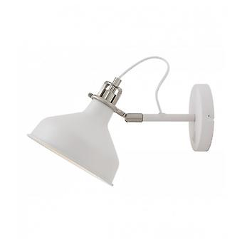 Acid Adjustable Wall Lamp Switched, 1 X E27, Sand White/satin Nickel/white