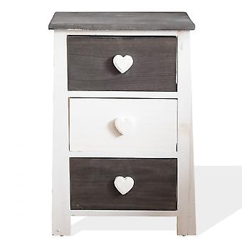 Rebecca Mobile Bedside Table Wet Shabby White Grey 3 Drawers 56x37x27