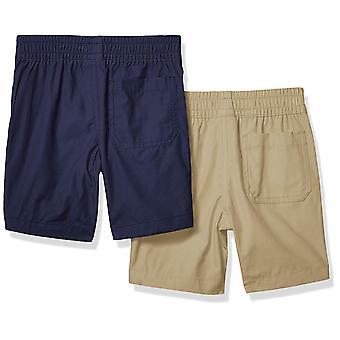Spotted Zebra Boysă 2-Pack Pull-On Play Pantaloni scurți, Kaki/Navy Small (6-7)