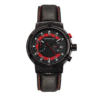 Morphic M91 Series Chronograph Leather-Band Watch w/Date - Black/Red